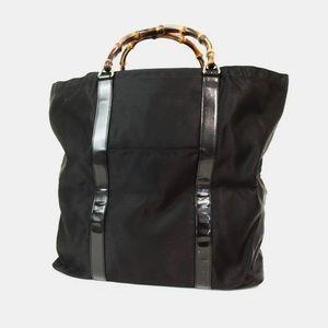 Gucci Bamboo Leather Nylon Large Shopper Tote Bag